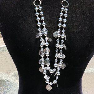 Boho Multi Strand Necklace Earrings Silvertone NWT